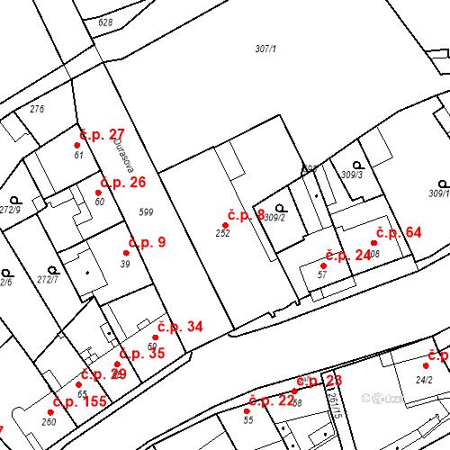 Katastrální mapa Stavební objekt Kvíček 8, Slaný