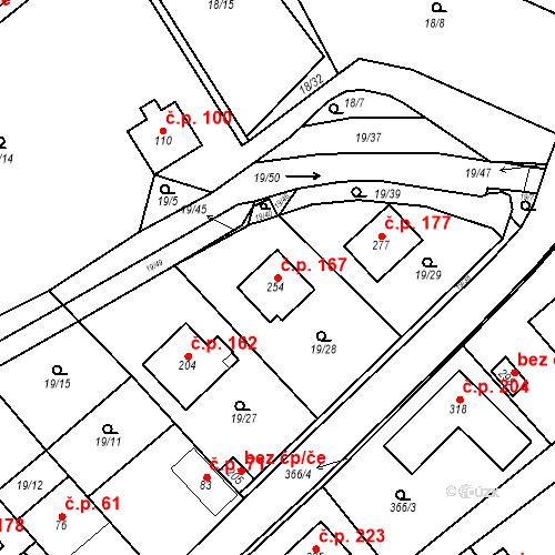 Katastrální mapa Stavební objekt Srbsko 167, Srbsko