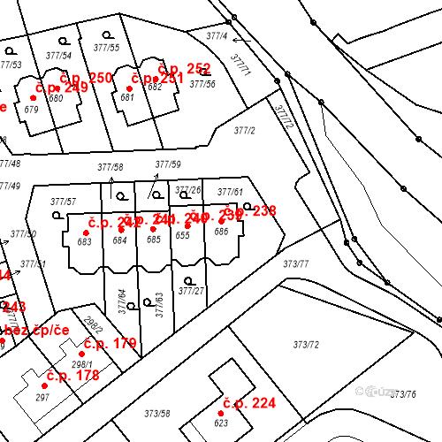 Katastrální mapa Stavební objekt Kvíček 238, Slaný