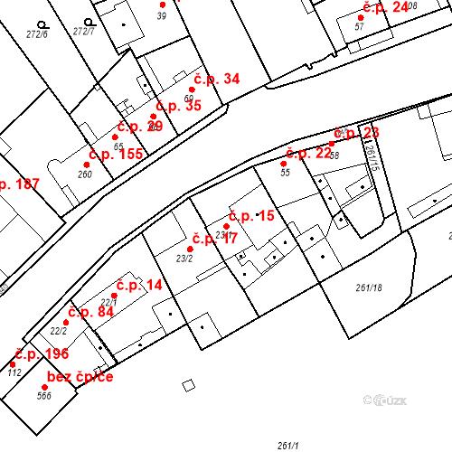 Katastrální mapa Stavební objekt Kvíček 15, Slaný