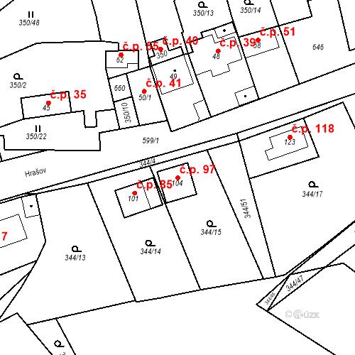 Katastrální mapa Stavební objekt Srbsko 97, Srbsko