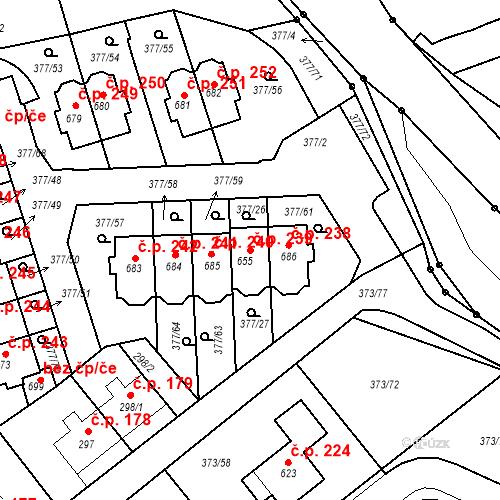 Katastrální mapa Stavební objekt Kvíček 239, Slaný