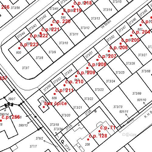 Katastrální mapa Stavební objekt Kvíček 209, Slaný