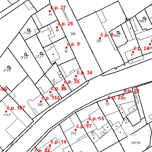 Katastrální mapa Stavební objekt Kvíček 34, Slaný