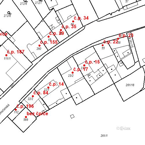 Katastrální mapa Stavební objekt Kvíček 17, Slaný