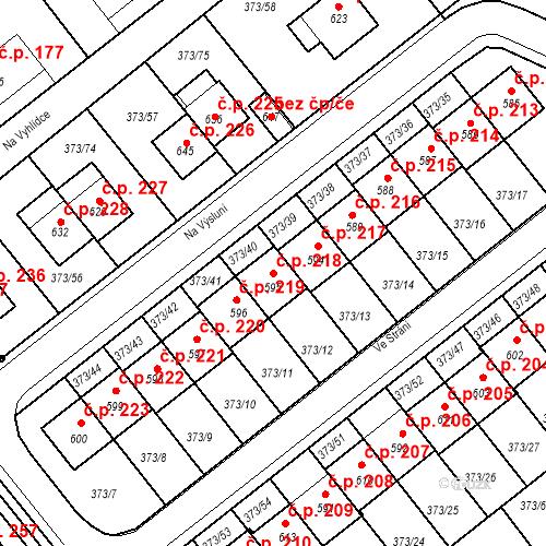Katastrální mapa Stavební objekt Kvíček 218, Slaný