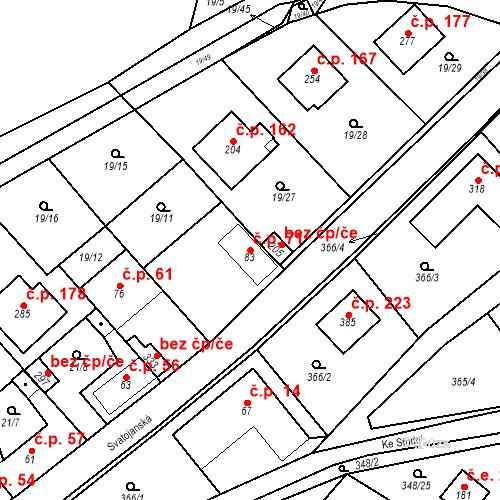 Katastrální mapa Stavební objekt Srbsko 71, Srbsko