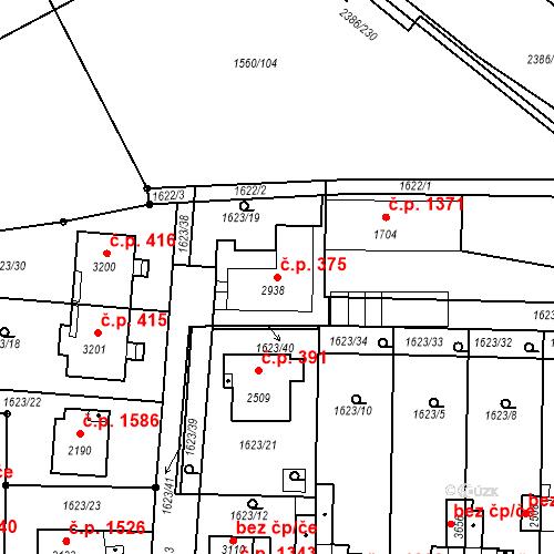 Katastrální mapa Stavební objekt Slaný 375, Slaný
