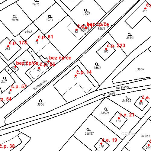 Katastrální mapa Stavební objekt Srbsko 14, Srbsko