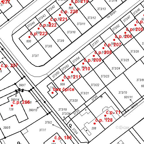 Katastrální mapa Stavební objekt Kvíček 210, Slaný