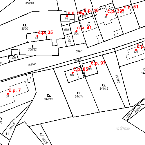 Katastrální mapa Stavební objekt Srbsko 85, Srbsko