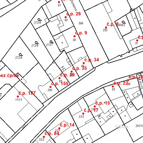 Katastrální mapa Stavební objekt Kvíček 35, Slaný