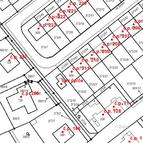 Katastrální mapa Stavební objekt Kvíček 211, Slaný