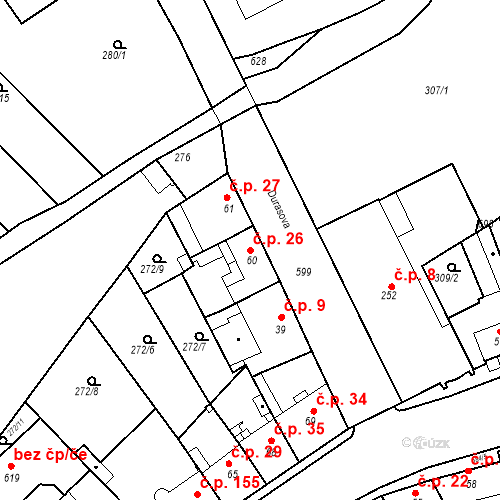 Katastrální mapa Stavební objekt Kvíček 26, Slaný
