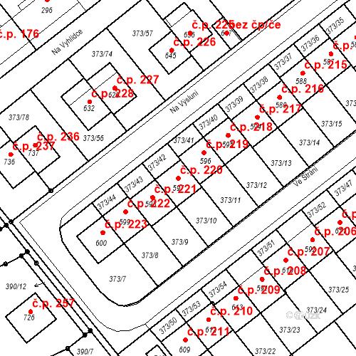 Katastrální mapa Stavební objekt Kvíček 220, Slaný