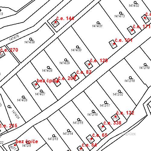 Katastrální mapa Stavební objekt Slaný 82, Slaný
