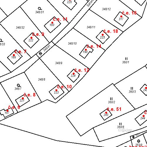 Katastrální mapa Stavební objekt Srbsko 12, Srbsko
