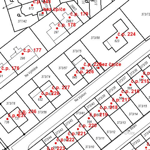 Katastrální mapa Stavební objekt Kvíček 226, Slaný