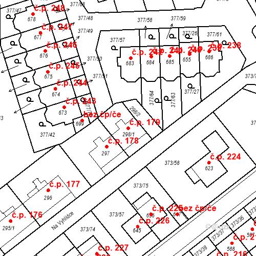 Katastrální mapa Stavební objekt Kvíček 179, Slaný