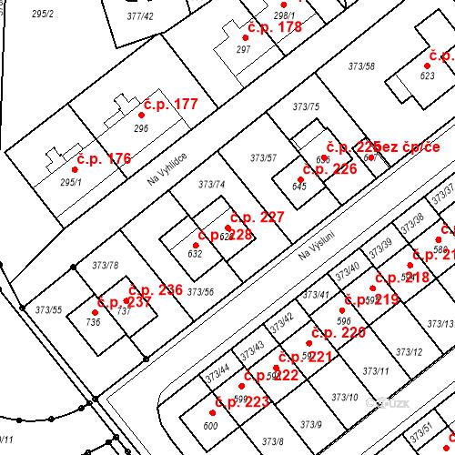Katastrální mapa Stavební objekt Kvíček 227, Slaný