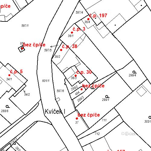 Katastrální mapa Stavební objekt Kvíček 30, Slaný