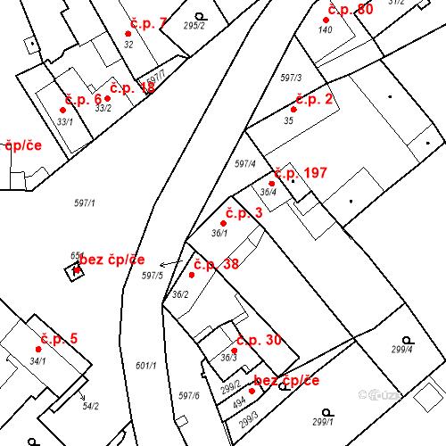 Katastrální mapa Stavební objekt Kvíček 3, Slaný