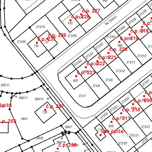 Katastrální mapa Stavební objekt Kvíček 223, Slaný