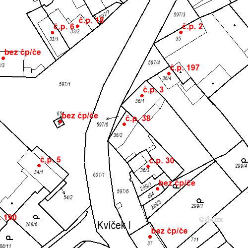 Katastrální mapa Stavební objekt Kvíček 38, Slaný
