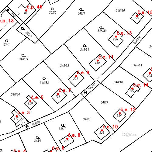 Katastrální mapa Stavební objekt Srbsko 9, Srbsko