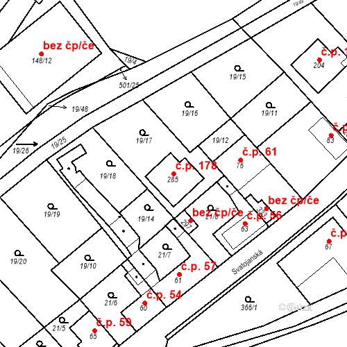 Katastrální mapa Stavební objekt Srbsko 178, Srbsko