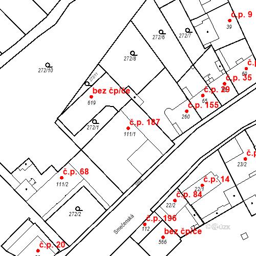 Katastrální mapa Stavební objekt Kvíček 187, Slaný
