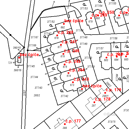 Katastrální mapa Stavební objekt Kvíček 245, Slaný