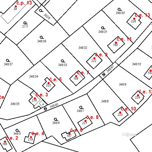 Katastrální mapa Stavební objekt Srbsko 7, Srbsko