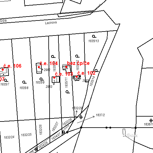 Katastrální mapa Stavební objekt Slaný 102, Slaný