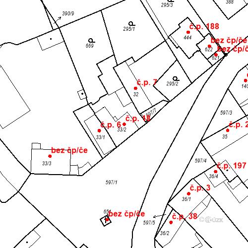 Katastrální mapa Stavební objekt Kvíček 18, Slaný