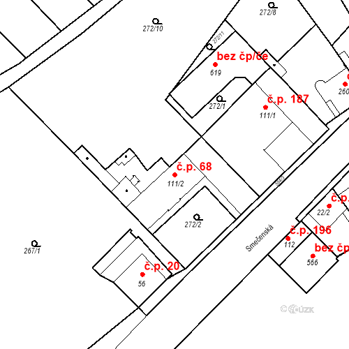 Katastrální mapa Stavební objekt Kvíček 68, Slaný
