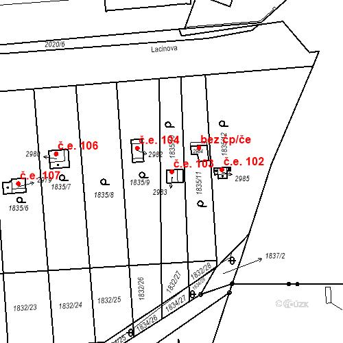 Katastrální mapa Stavební objekt Slaný 103, Slaný