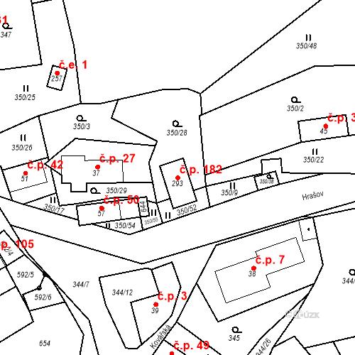 Katastrální mapa Stavební objekt Srbsko 182, Srbsko