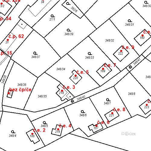 Katastrální mapa Stavební objekt Srbsko 5, Srbsko