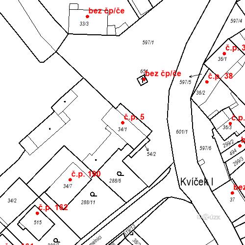 Katastrální mapa Stavební objekt Kvíček 5, Slaný