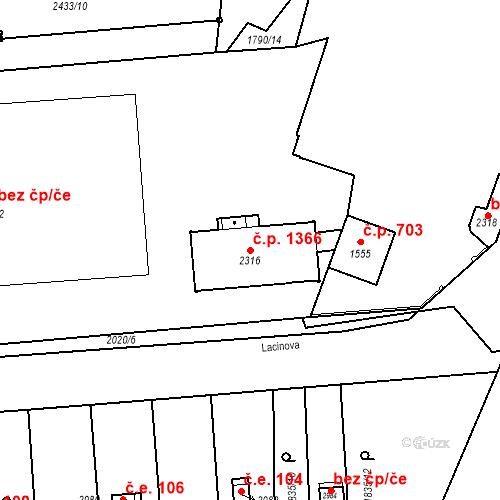 Katastrální mapa Stavební objekt Slaný 1366, Slaný