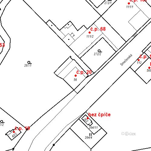 Katastrální mapa Stavební objekt Kvíček 20, Slaný