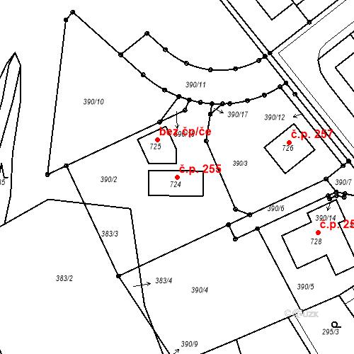 Katastrální mapa Stavební objekt Kvíček 255, Slaný