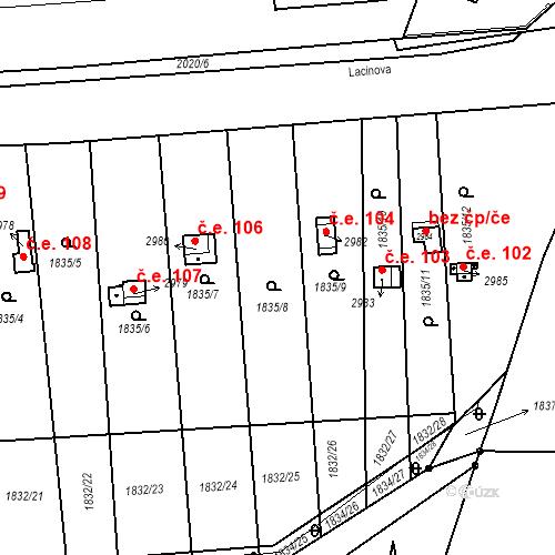 Katastrální mapa Stavební objekt Slaný 105, Slaný