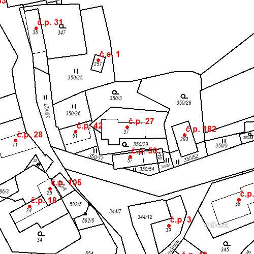 Katastrální mapa Stavební objekt Srbsko 27, Srbsko