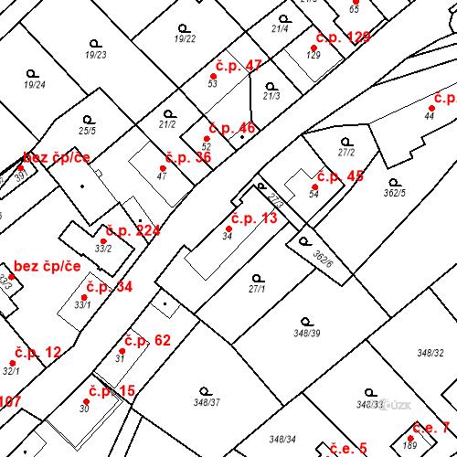 Katastrální mapa Stavební objekt Srbsko 13, Srbsko