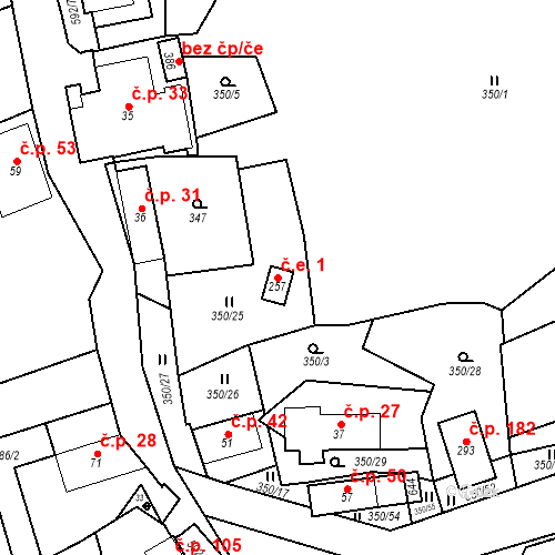 Katastrální mapa Stavební objekt Srbsko 1, Srbsko