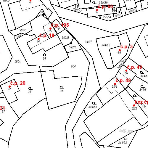Katastrální mapa Stavební objekt Srbsko 19, Srbsko