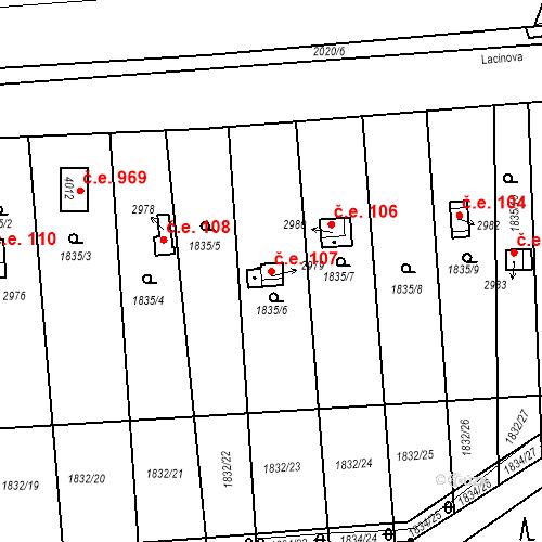 Katastrální mapa Stavební objekt Slaný 107, Slaný