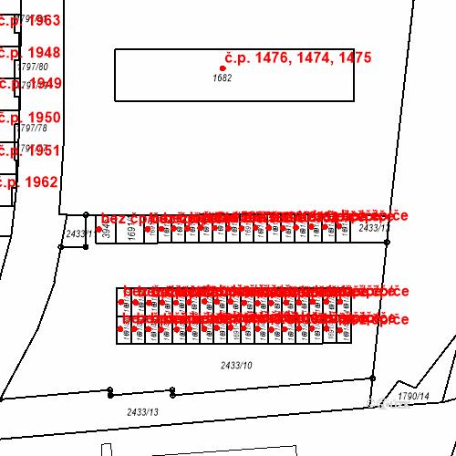 Katastrální mapa Stavební objekt Slaný 158, Slaný